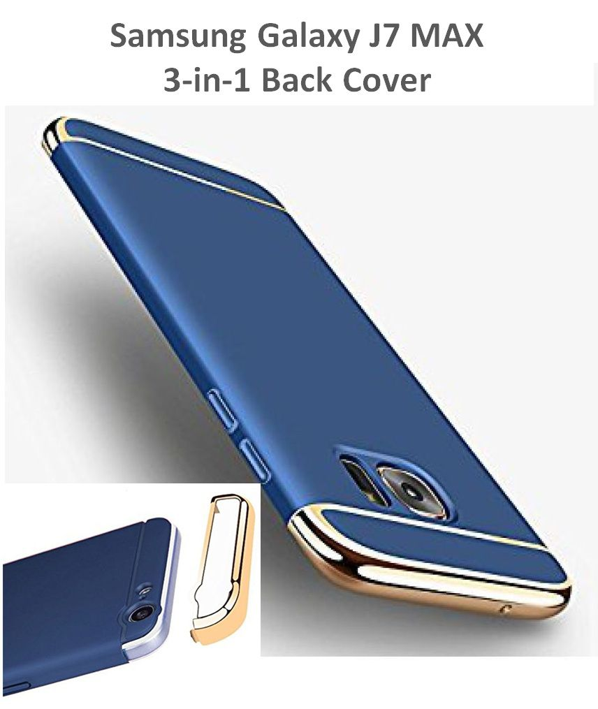 big sale b4ee4 e1d1d Samsung Galaxy J7 Max Plain Cases 3-in-1 Dual Layer Thin Back Cover Ipaky -  Blue