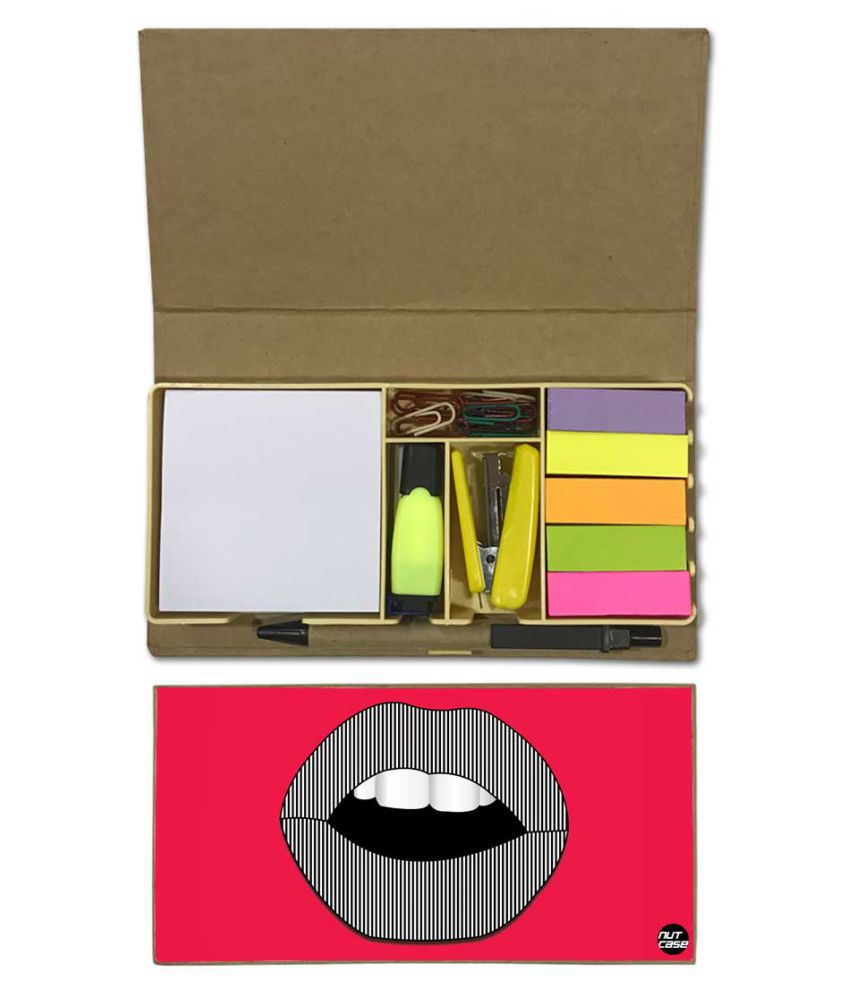 Nutcase Designer Stationary Kit Desk Customised Organizer Memo Notepad - Lips