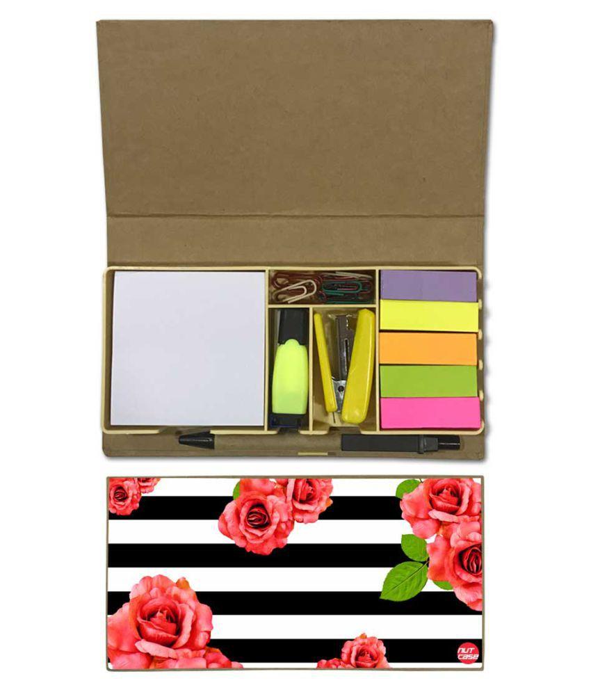 Nutcase Designer Stationary Kit Desk Customised Organizer Memo Notepad - Floral Stripes