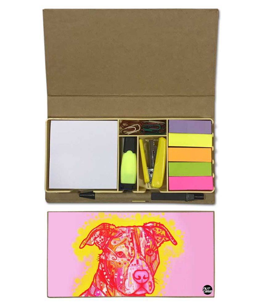 Nutcase Designer Stationary Kit Desk Customised Organizer Memo Notepad - Pink Lab Love