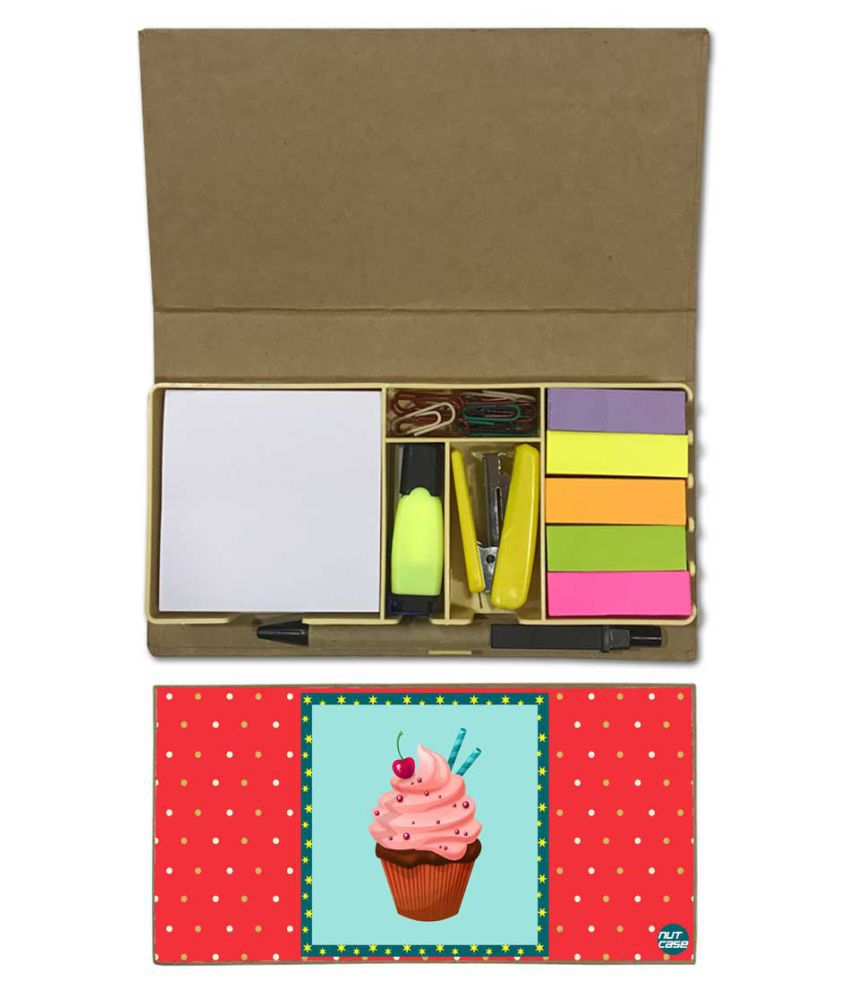 Nutcase Designer Stationary Kit Desk Customised Organizer Memo Notepad - Cupcake