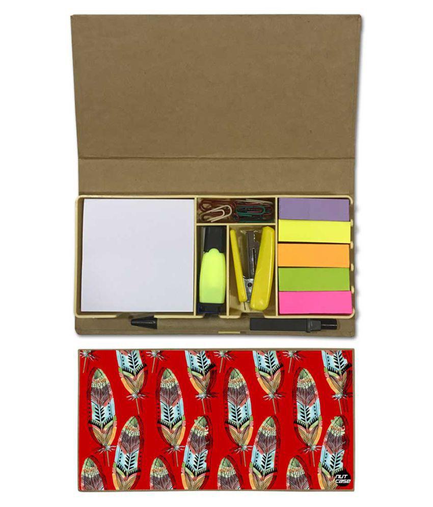 Nutcase Designer Stationary Kit Desk Customised Organizer Memo Notepad - Red Feathers