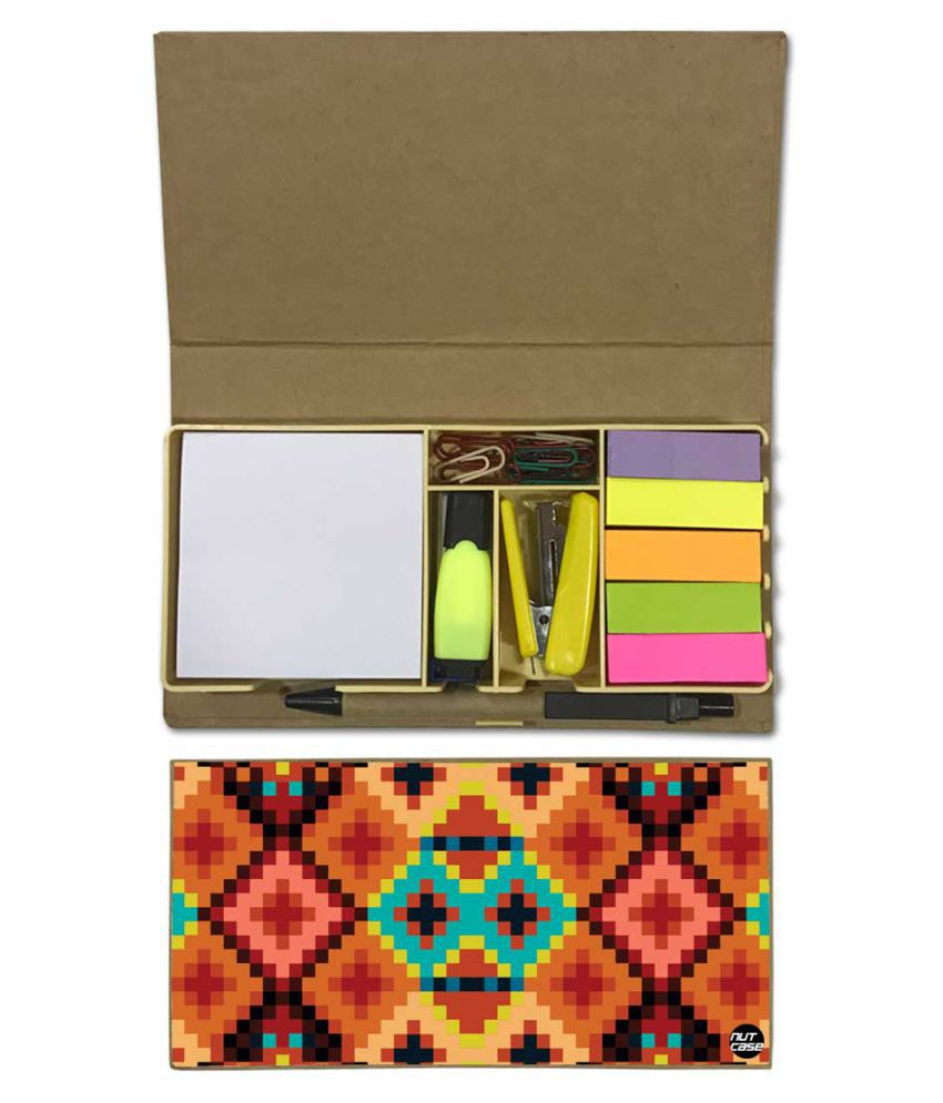 Nutcase Designer Stationary Kit Desk Customised Organizer Memo Notepad - IKAT Pattern