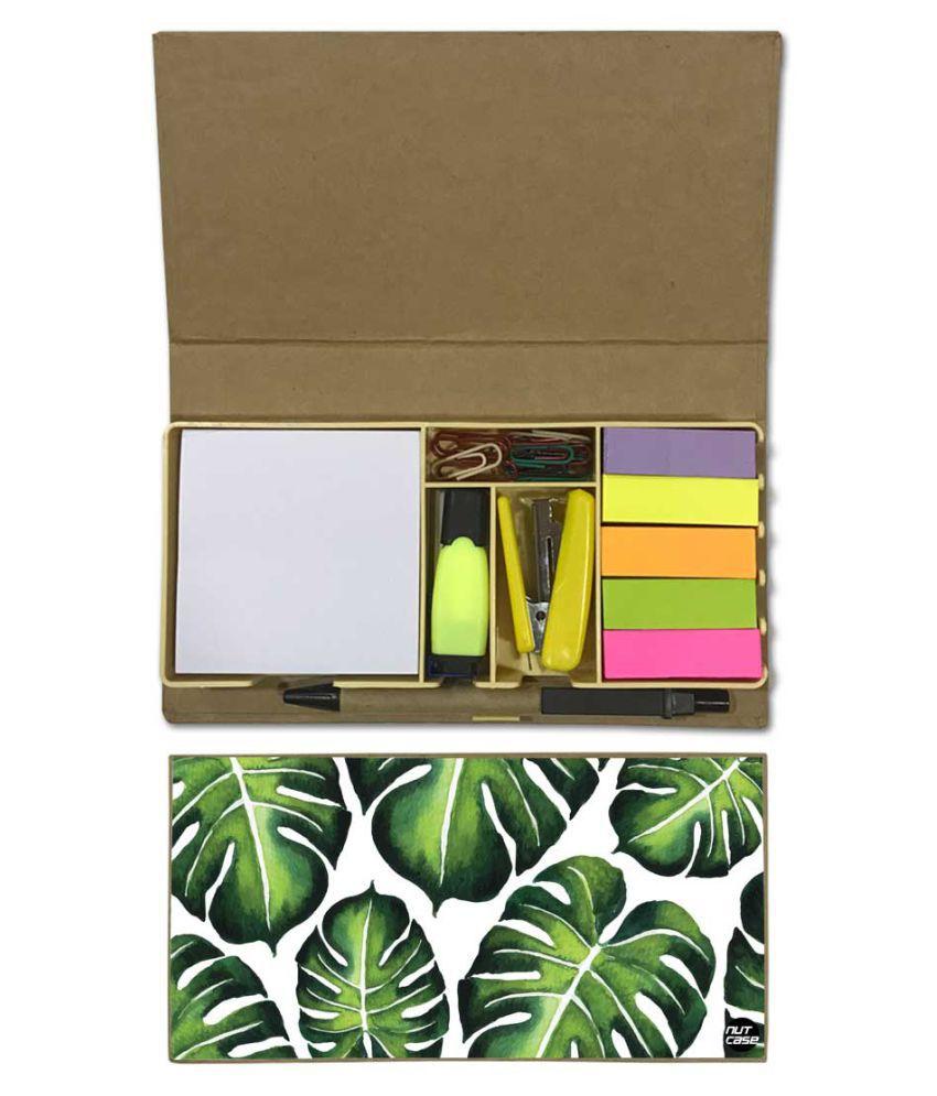 Nutcase Designer Stationary Kit Desk Customised Organizer Memo Notepad - Monestera Leaves