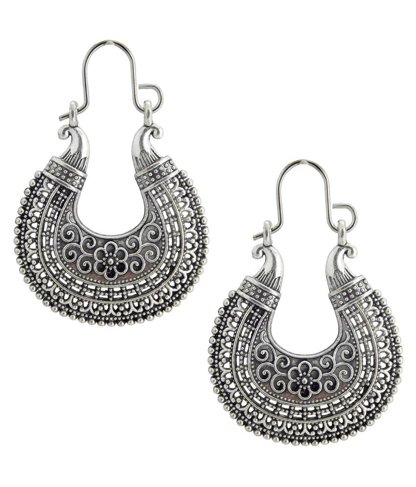 9blings  Silver Oxidised Hoop Dangle Earrings