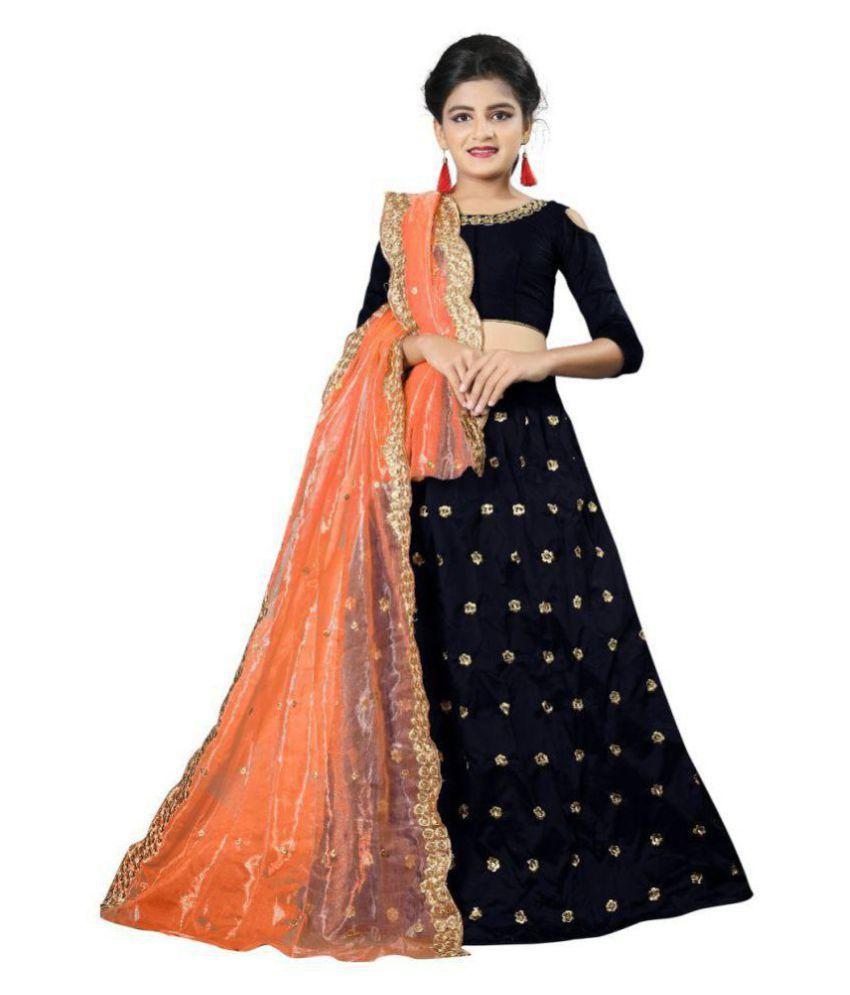 459bde9069 F Plus Fashion Black Taffeta Silk Heavy Embroidered Wedding Wear Kids Lehenga  Choli _Suitable To 8-13 Year Girls(Free Size) - Buy F Plus Fashion Black ...