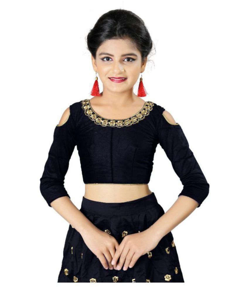 264fd5df96b1 ... F Plus Fashion Black Taffeta Silk Heavy Embroidered Wedding Wear Kids  Lehenga Choli _Suitable To 8