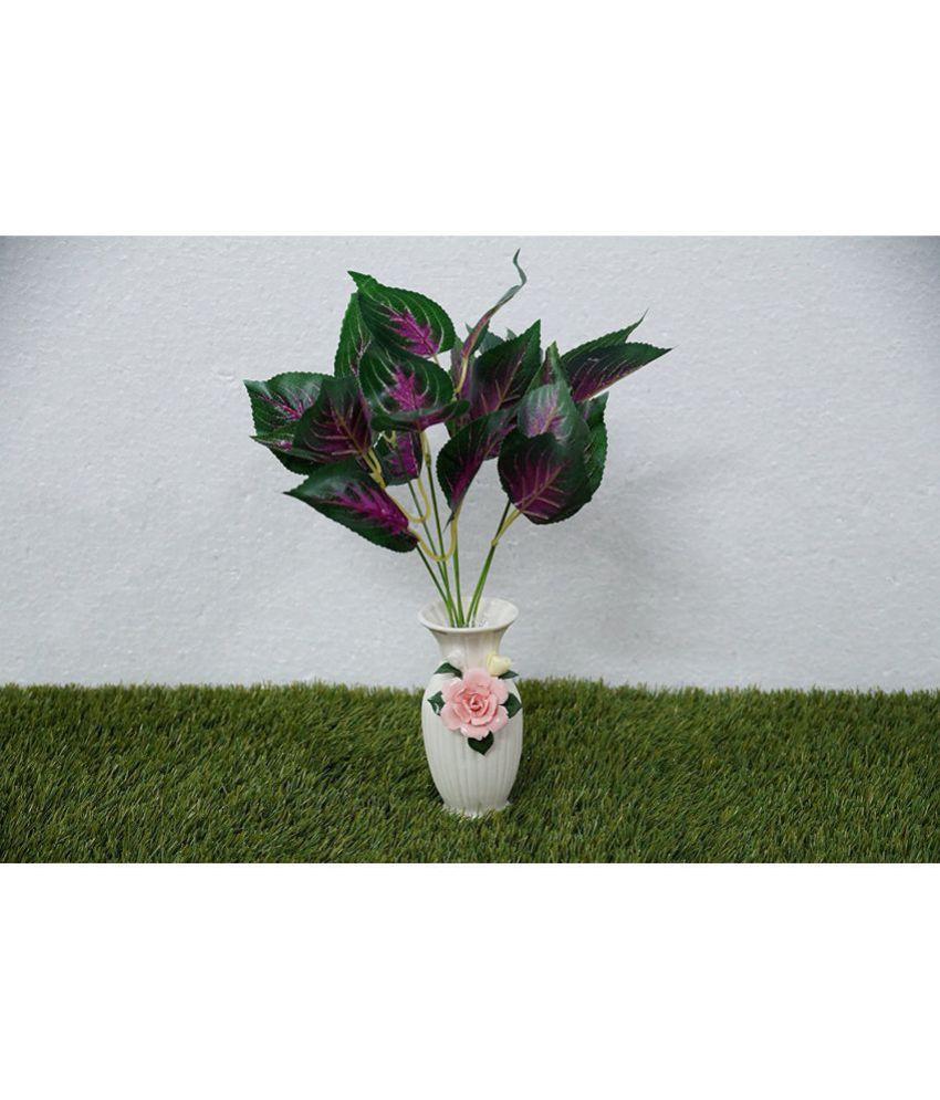 YUTIRITI Miniature Shady Leaf Green Artificial Plants Bunch Plastic - Pack of 1