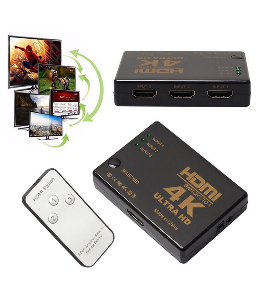 LipiWorld 4K ULTRA 3 PORT HDMI SWITCH WITH REMOTE HDMI Splitter NA