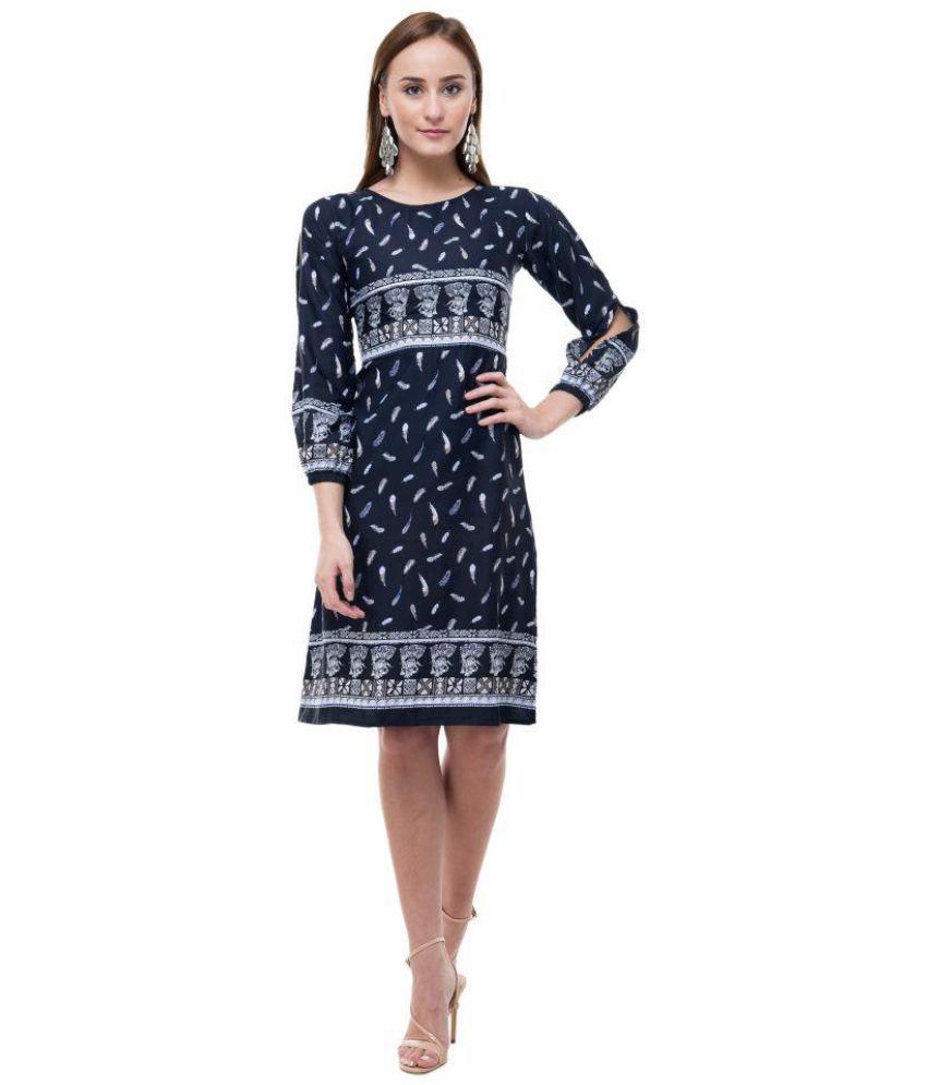 Surpriam Poly Crepe Blue A- line Dress