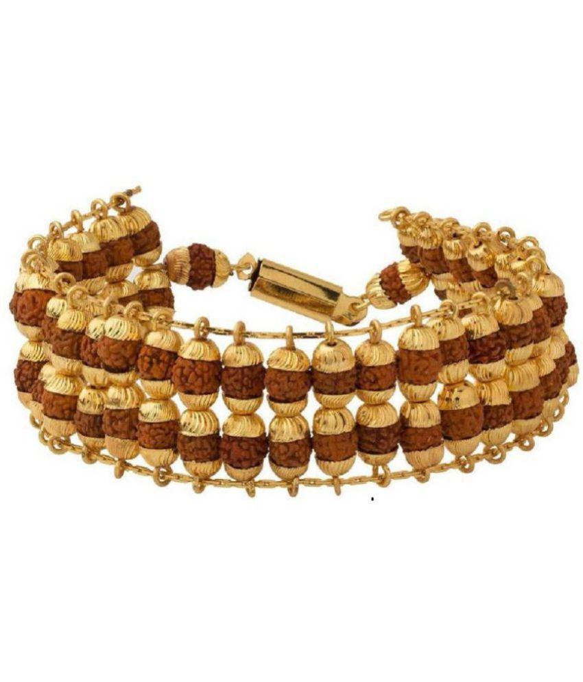 J S Imitation Gold Plated Double Line Rudraksha Bracelet