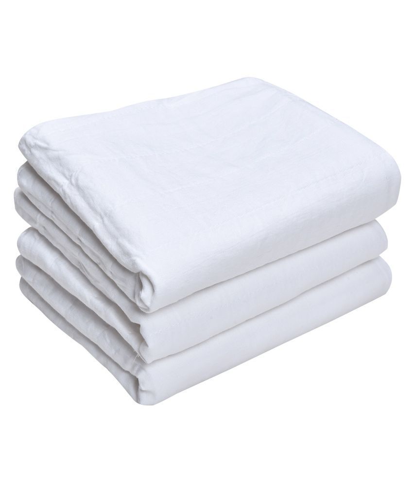 MK HANDICRAFT White Cotton Baby Wrap cum blanket ( 100 cm × 80 cm - 3 pcs)