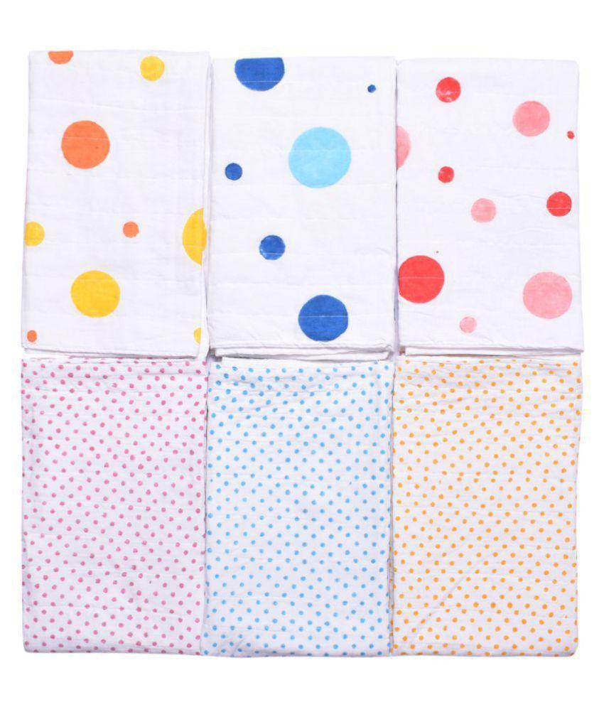 MK HANDICRAFT White Cotton Baby Wrap cum blanket ( 100 cm × 80 cm - 6 or more pcs)