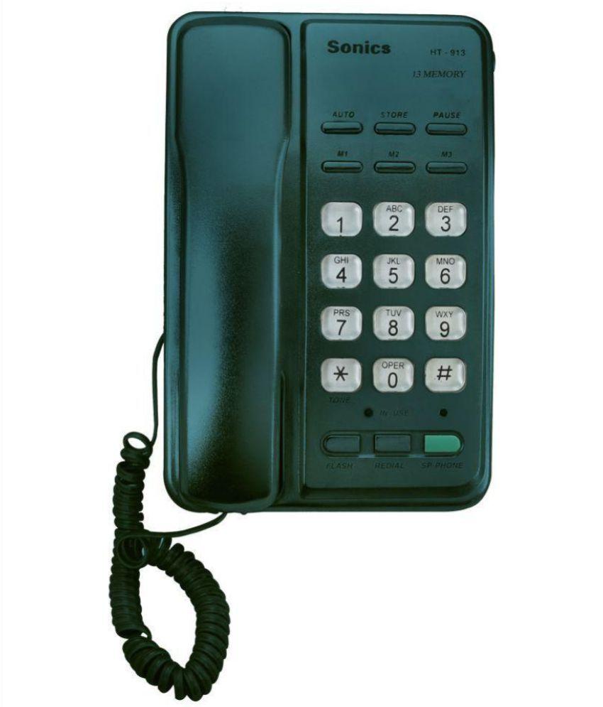 Buy Sonics HT-913 GREEN Corded Landline Phone ( Green ...