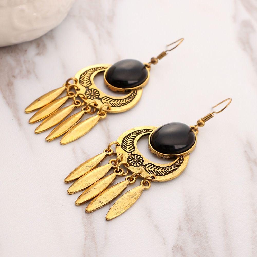 Levaso Fashion Earrings Ear Studs Alloy Bohemia National Gem Tassels Jewelry Multi Color