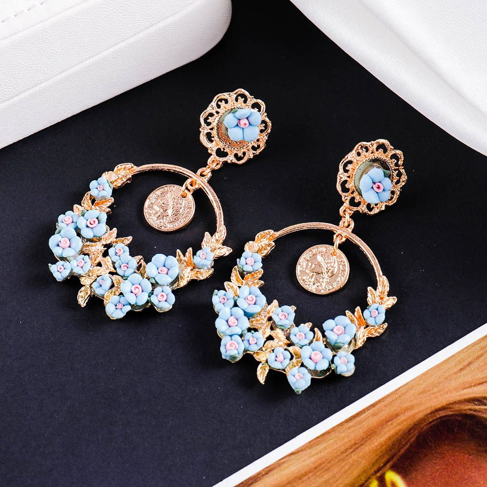 Levaso Fashion Jewelry Womens Earrings Ear Studs Necklace Pendant Alloy Floral Flower 1Set Personality Gifts Green