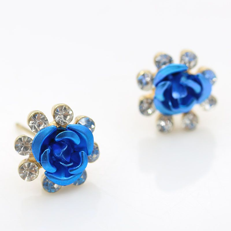 Levaso Fashion Jewelry Womens Earrings Ear Studs Alloy Floral Flower 1Pair Personality Gifts Purple