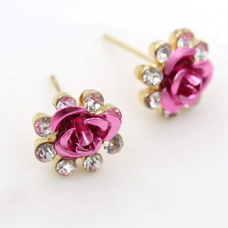 Levaso Fashion Jewelry Womens Earrings Ear Studs Alloy Floral Flower 1Pair Personality Gifts Pink