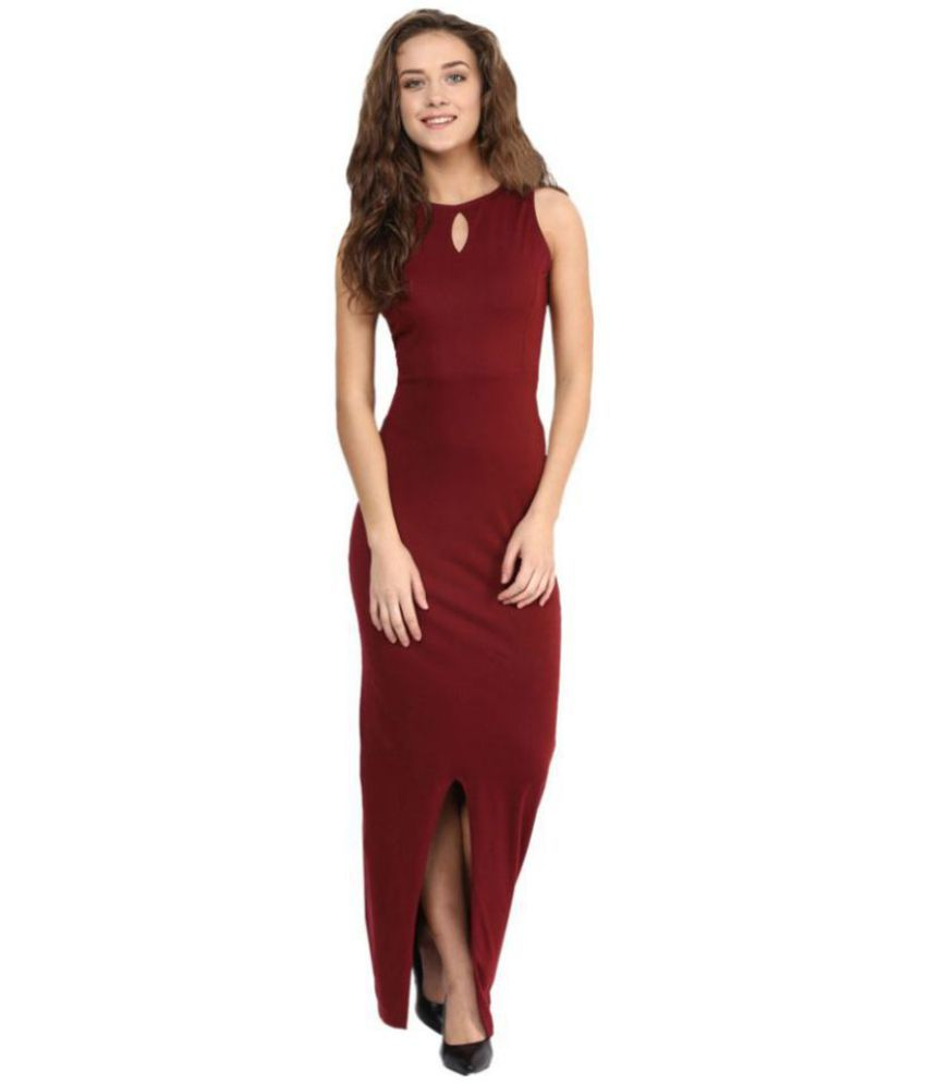 fa2919d99c34 Miss Chase Cotton Maroon Bodycon Dress - Buy Miss Chase Cotton Maroon  Bodycon Dress Online at Best Prices in India on Snapdeal