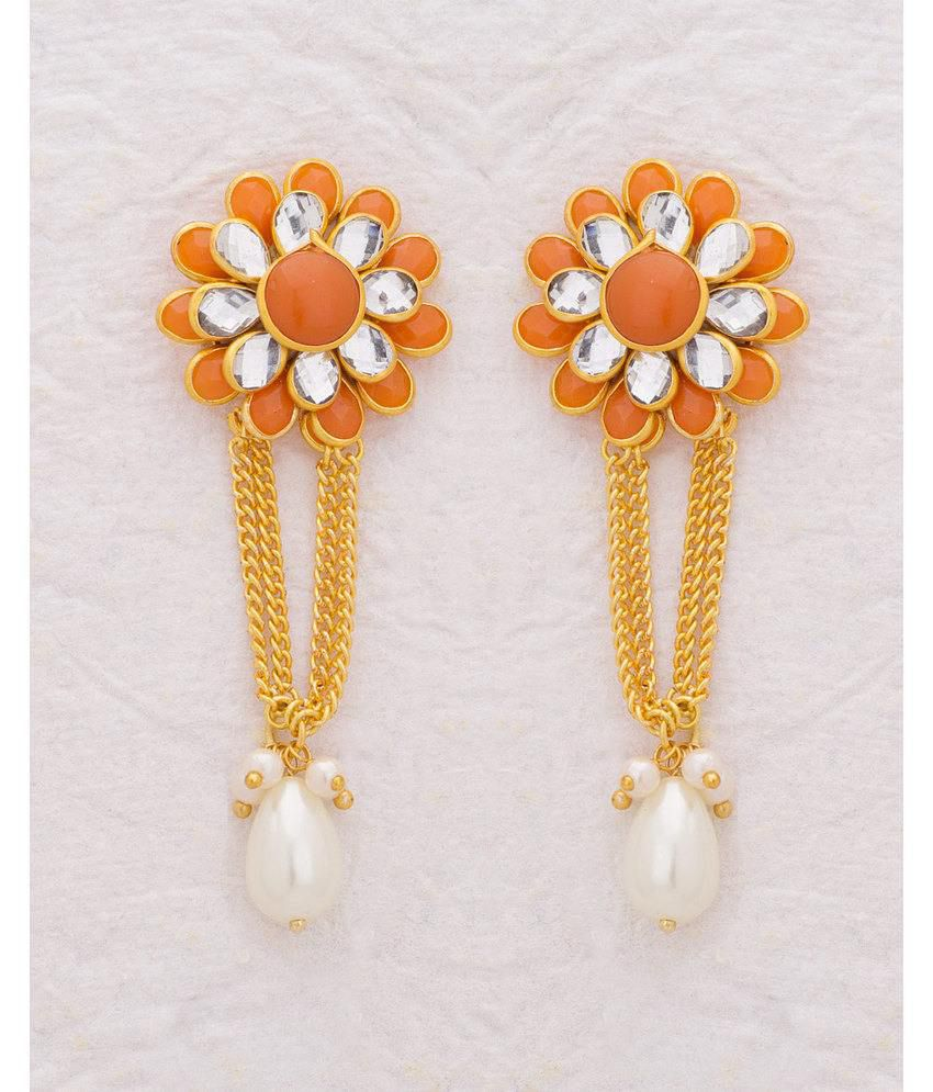 Voylla Dainty Floral Earrings with Gold Plating For Women