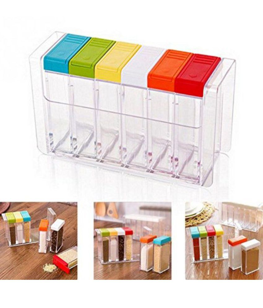 Everbuy Crystal Seasoning Box Pepper Salt Spice Rack Acrylic Spice Container Set of 6