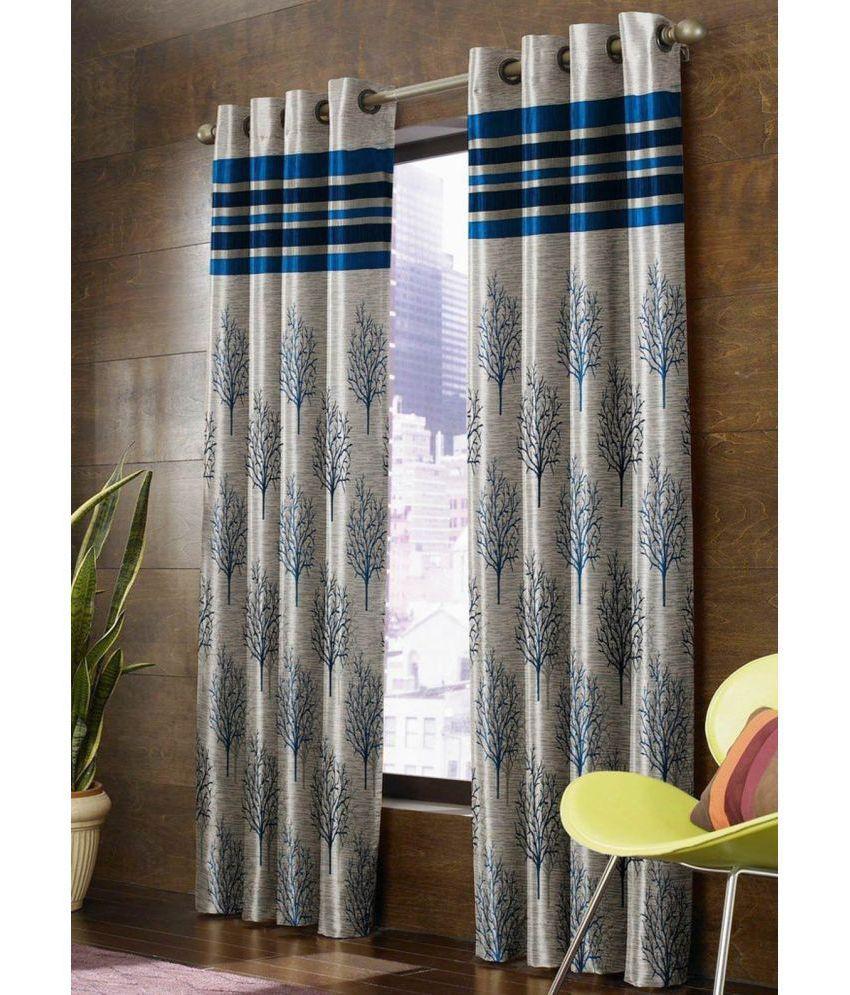 Fresh From Loom Set of 2 Window Blackout Room Darkening Eyelet Jute Curtains Blue
