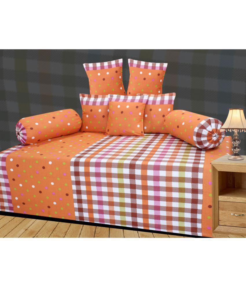 Homefab India Cotton Multi Polka Diwan Set 8 Pcs