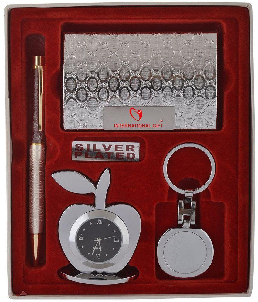 INTERNATIONAL GIFT Steel Diwali Hampers Silver - Pack of 4