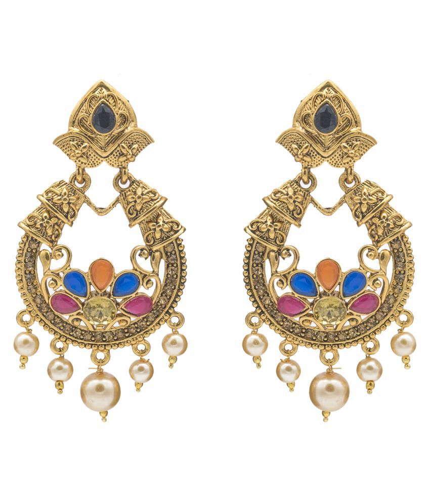 Kiyara Accessories Multi-coloured Dangling Earrings with Gold Plating for Women and Girls Ruby Alloy Chandbali Earring
