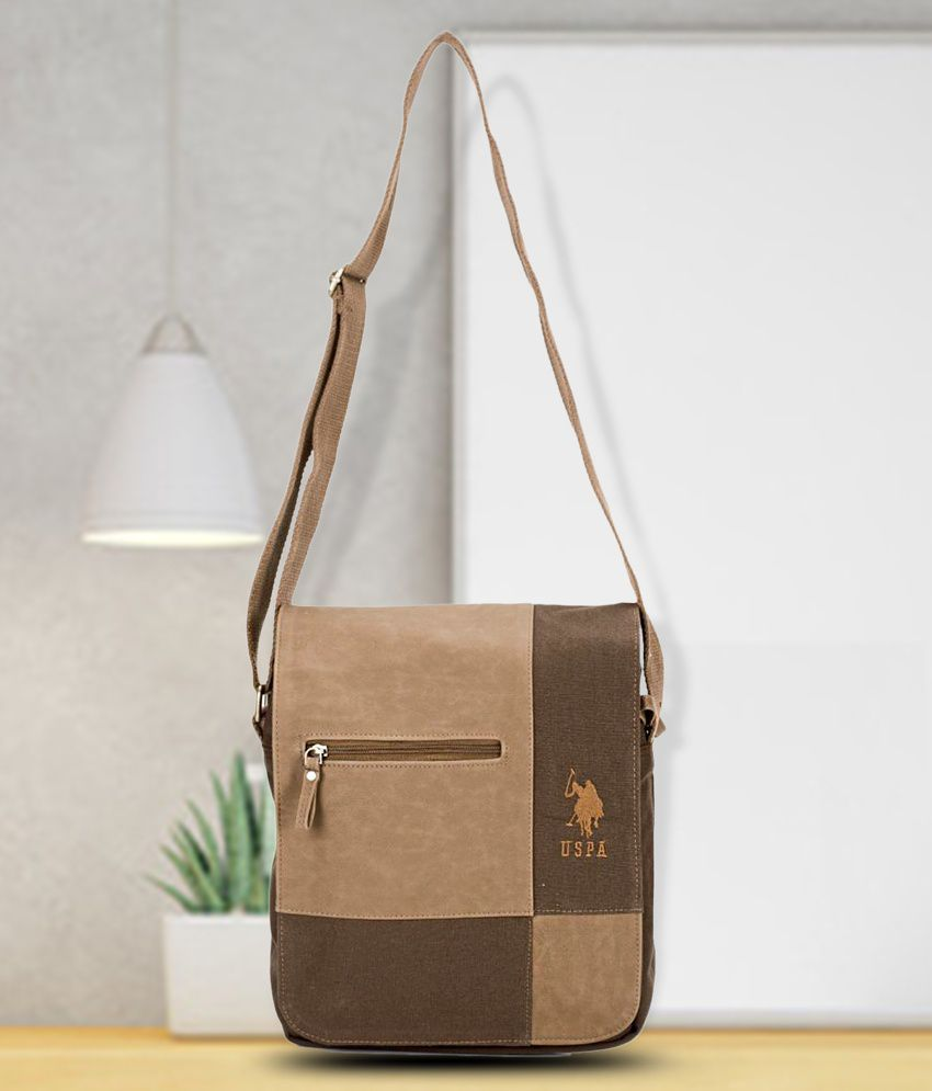 U.S. Polo Assn. Brown Canvas Casual Messenger Bag - Buy U.S. Polo Assn.  Brown Canvas Casual Messenger Bag Online at Low Price - Snapdeal 334aca6df6
