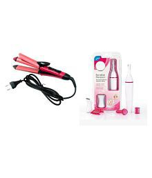 Ibs 2 in 1 NHC-2009 Hair Styler Straightener cum Curler Simply Straight WITH Facial hair Razor remover Cordless Trimmer COMBO set of 2 (Set of 2) ( Multicolor )