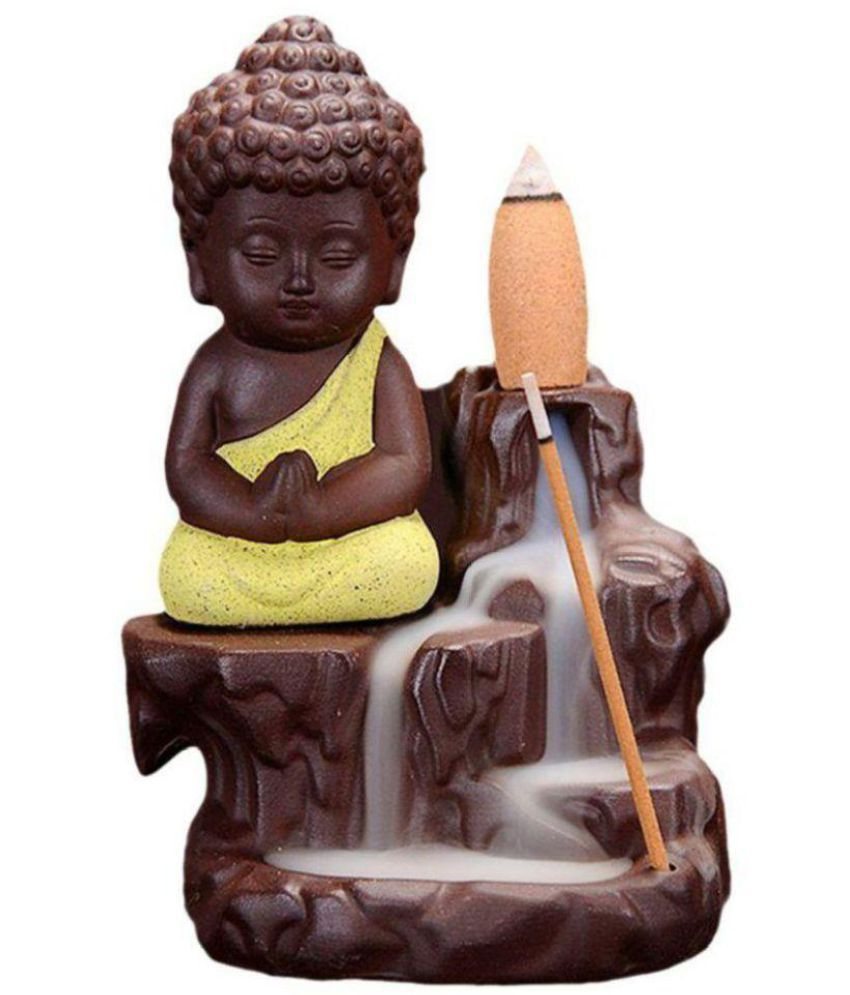 D J M Arts of India Multicolour Polyresin Monk Buddha Smoke Backflow - Pack of 1