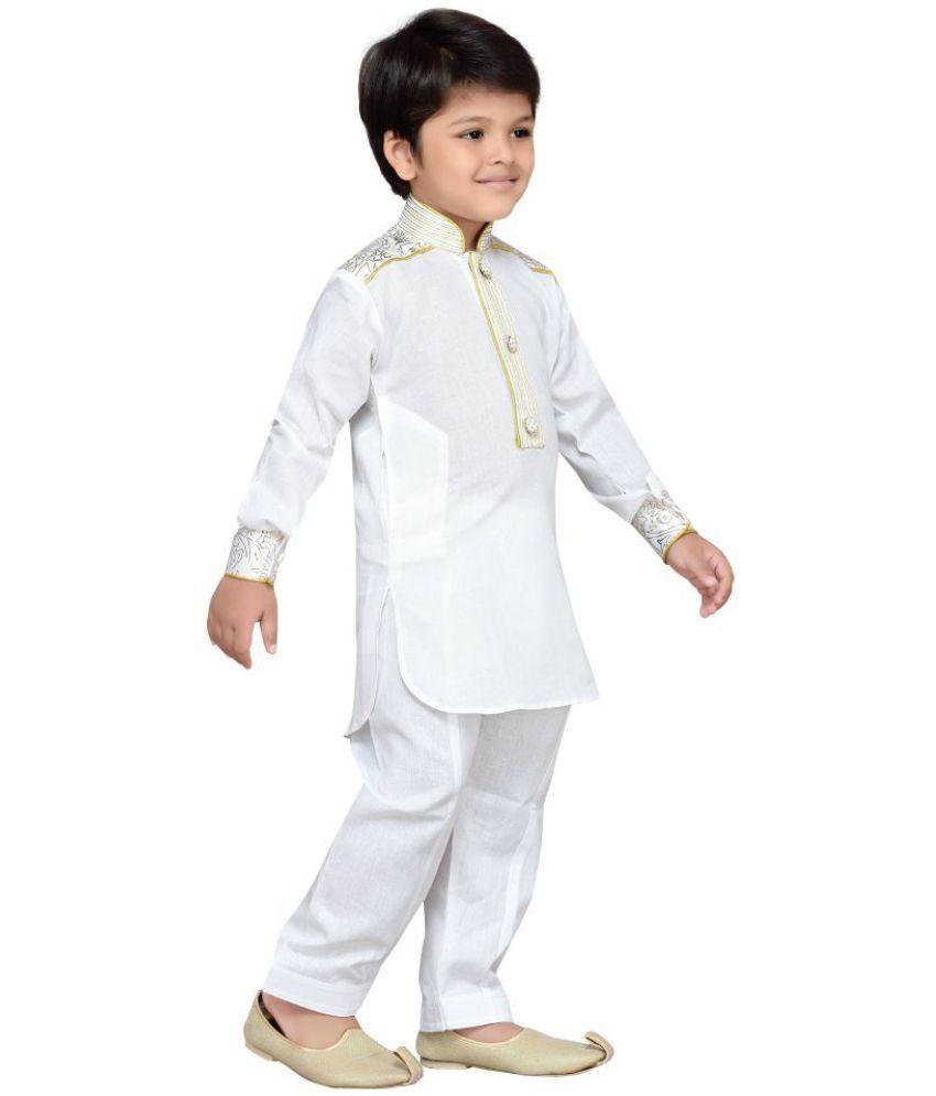 01c031113 AJ Dezines White Kids Pathani Suit for Boys - Buy AJ Dezines White ...