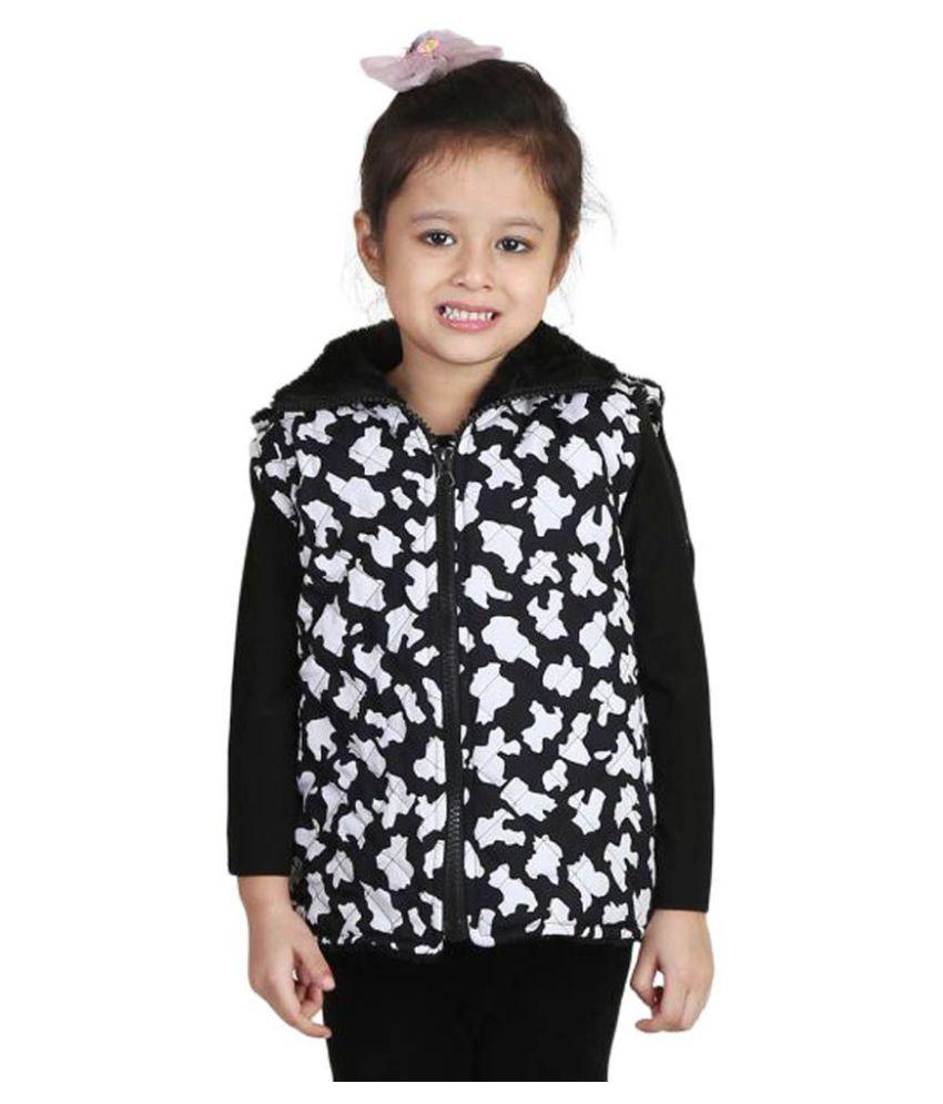 Qeboo Black Half Sleeve Nylon Jacket for Girls