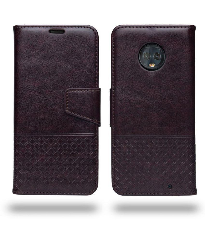 newest collection 4163e 8a5c7 Motorola Moto G6 Plus Flip Cover by Ceego - Brown