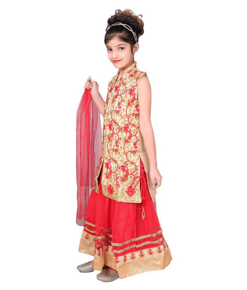 53c792814f3 ... Sky Heights Girls  Red Net Lehenga Choli  Ghagra (Ethnic Wear Dress for  Kids ...