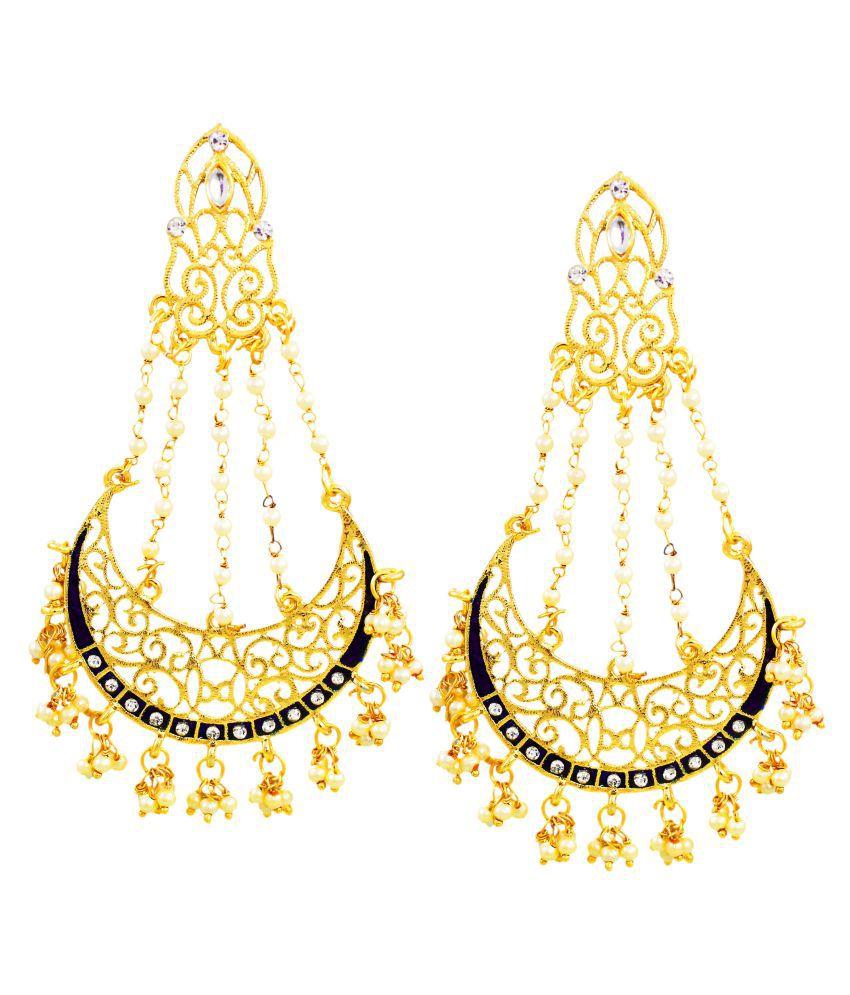 Zaveri Pearls Graceful Filigree Chandbali Earring-ZPFK6702