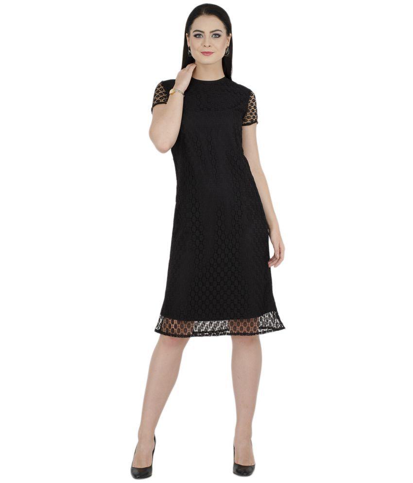 bahrupiya clothing Lace Black Shift Dress