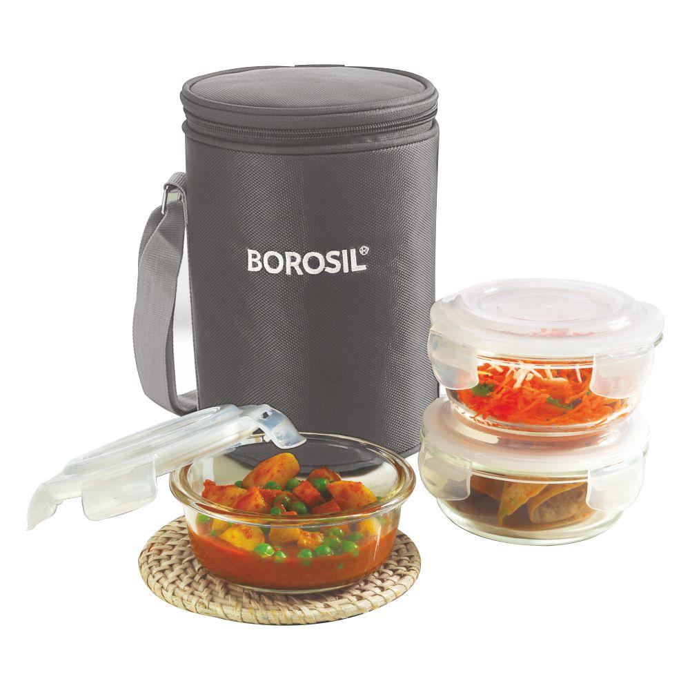 Borosil Klip-N-Store Round Glass Lunch box 400 ml - Grey Set of 3