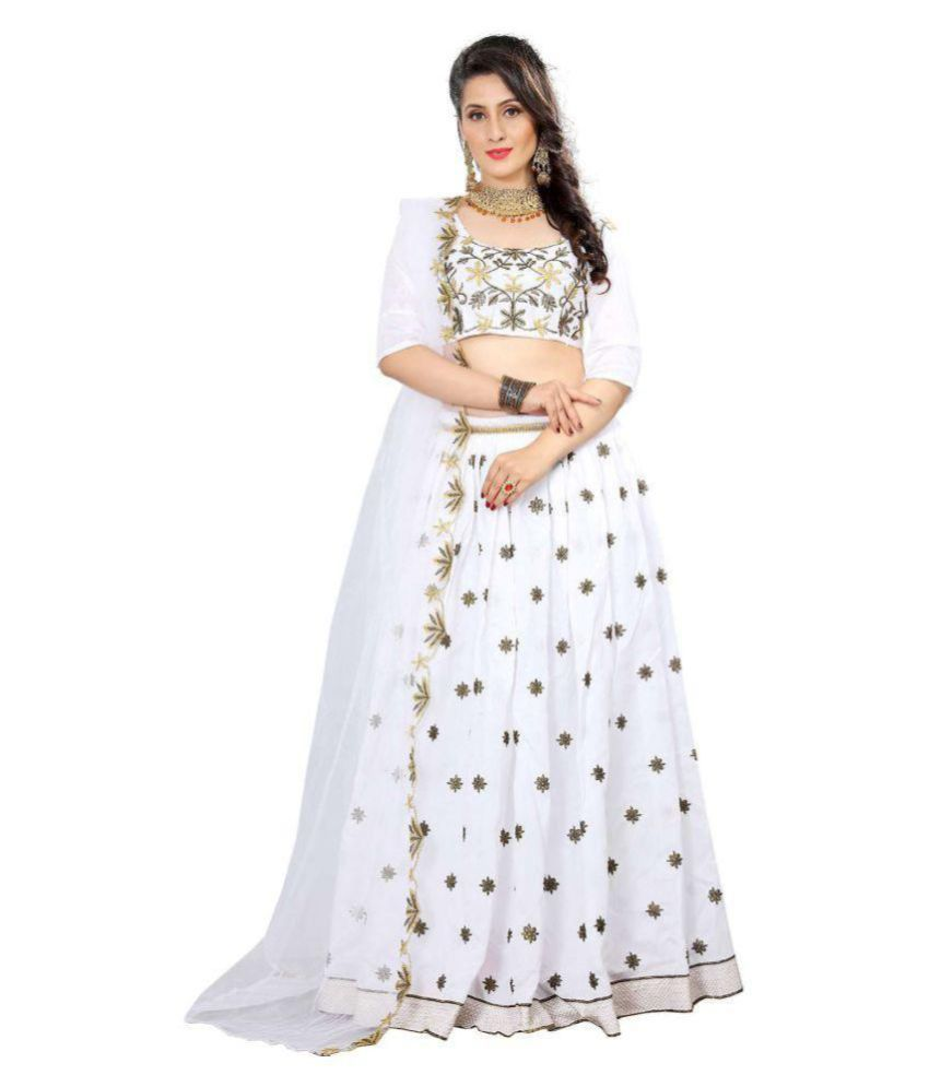 0d47cd2d44 DS Fabs White and Grey Bangalore Silk Semi Stitched Lehenga - Buy DS Fabs  White and Grey Bangalore Silk Semi Stitched Lehenga Online at Best Prices  in India ...