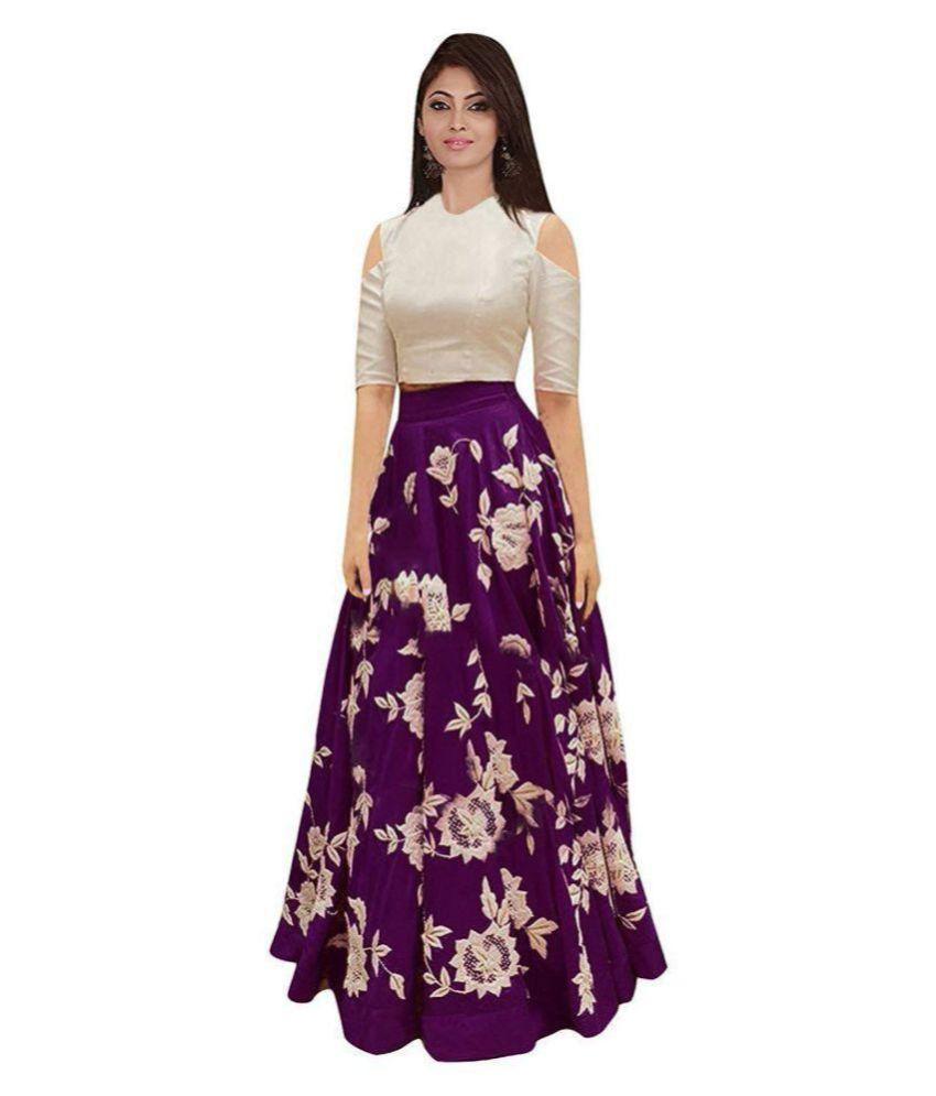 Hirva Collections Purple Cotton Semi Stitched Lehenga