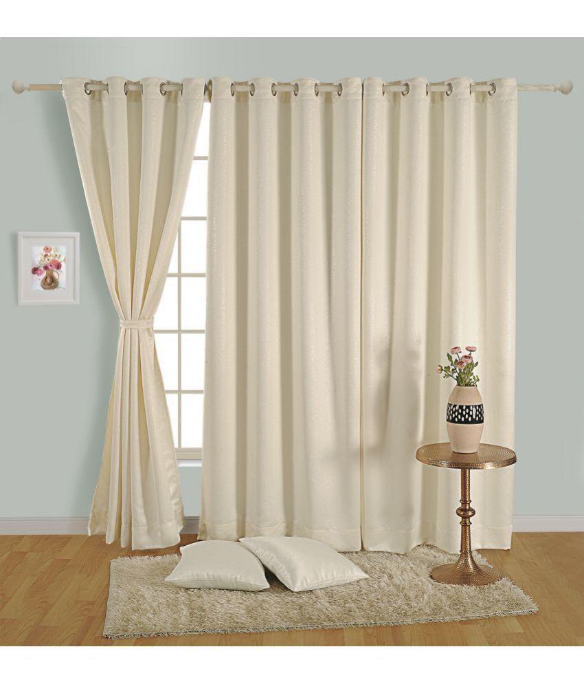 Swayam Single Window Blackout Eyelet Polyester Curtains Off White