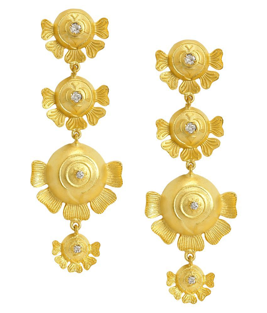 AccessHer Gold Plated Traditional Ethnic Floral Dangler Earrings for women and girls