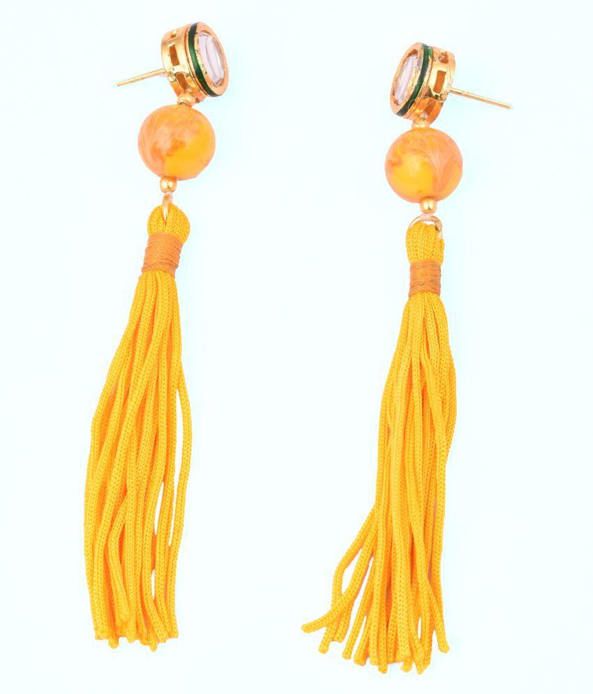 Pearlz Gallery Earring in Tassel and Kundan Meena in Yellow Color