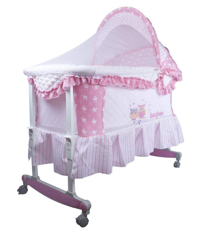 Baybee Angel-Hug Bassinet Cradle cum Rocker with Mosquito Net- Canopy and Wheels-Pink