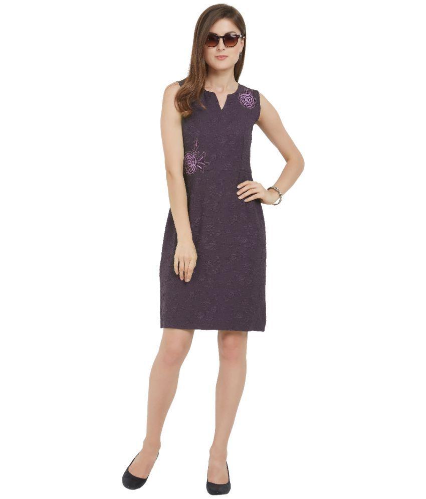 Soie Polyester Purple Regular Dress