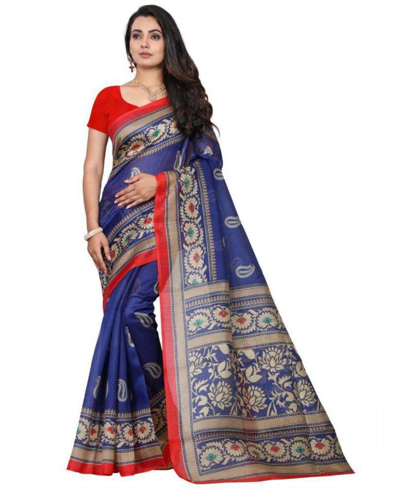 Hindva Fashion Blue Bhagalpuri Silk Saree Combos
