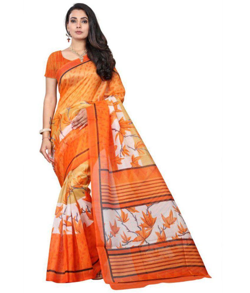 Hindva Fashion Orange Bhagalpuri Silk Saree Combos