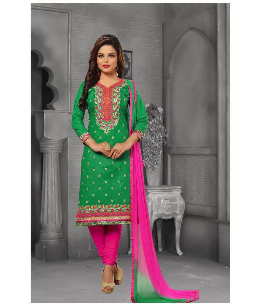 Pragati Fashion Hub Green and Pink Cotton Dress Material