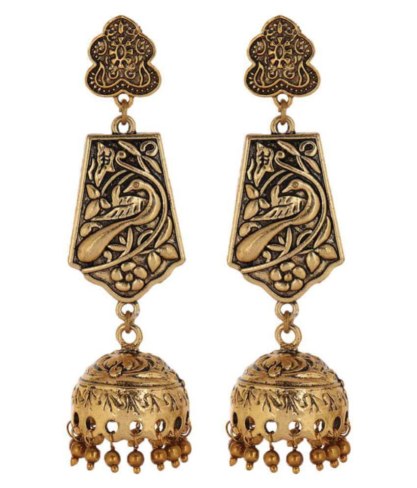 Malifionna Present antique Golden Temple Earring For Women's & Girl's